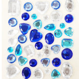 Wrapables Acrylic Self Adhesive Crystal Gem Stickers, Blues (2pk)