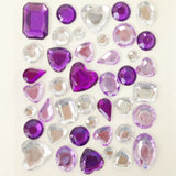 Wrapables Acrylic Self Adhesive Crystal Gem Stickers, Purple/Pink/Silver (2pk)