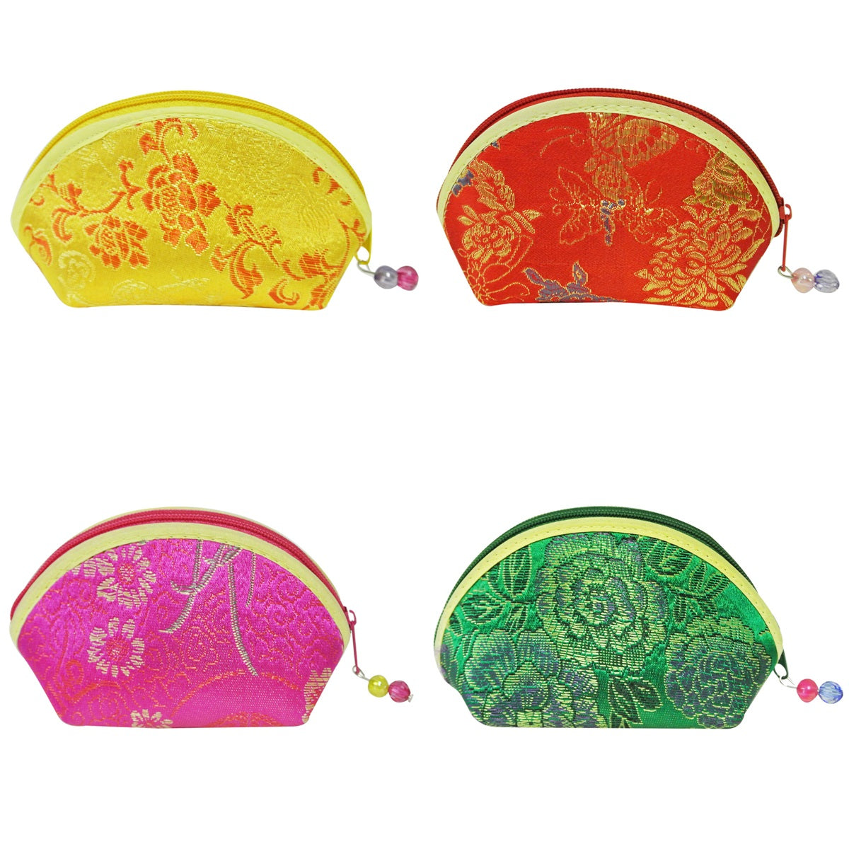 Silk Embroidered Brocade Gift Jewelry Coin Pouch Purse (Set of 4)