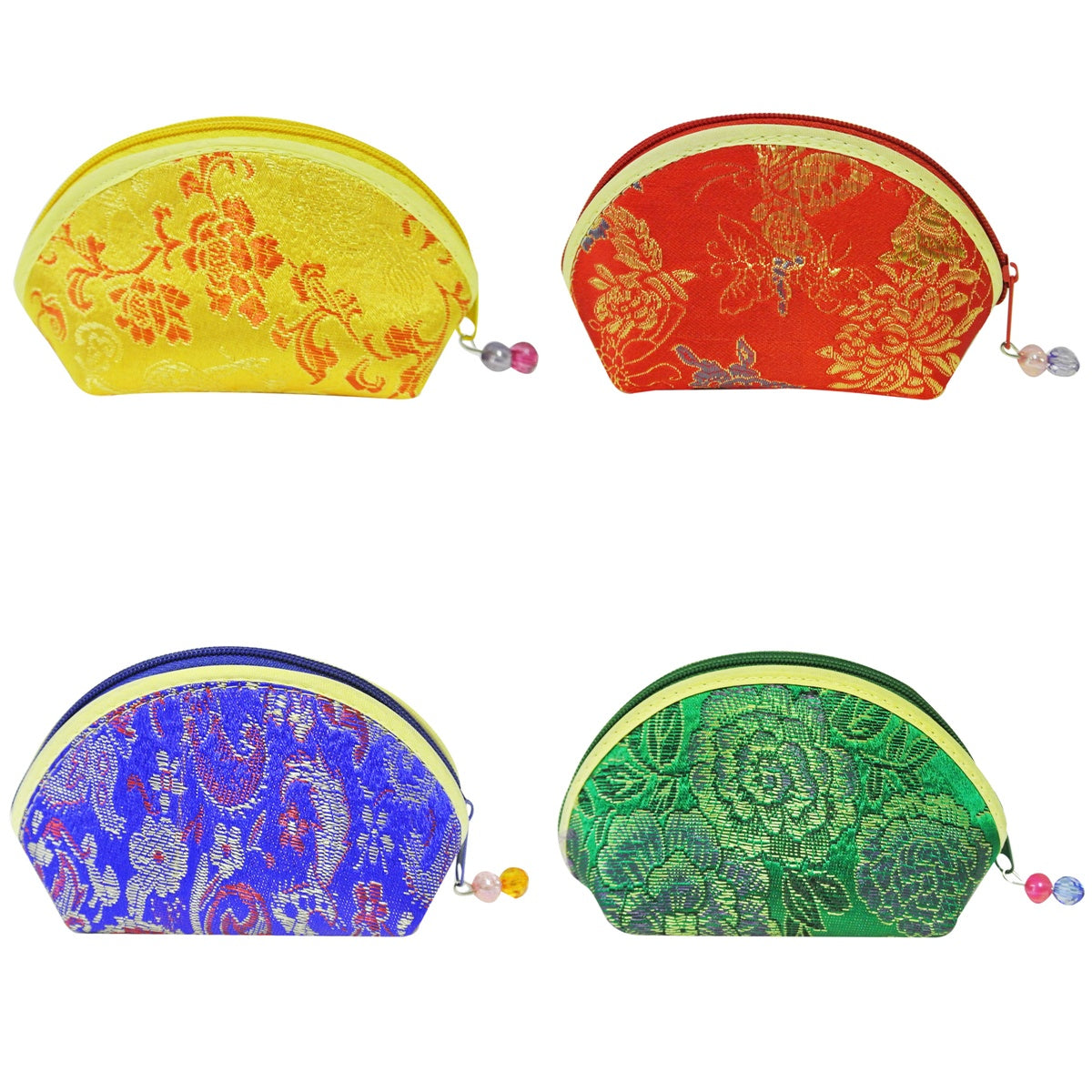 Silk Embroidered Brocade Gift Jewelry Coin Pouch Purse (Set of 8)