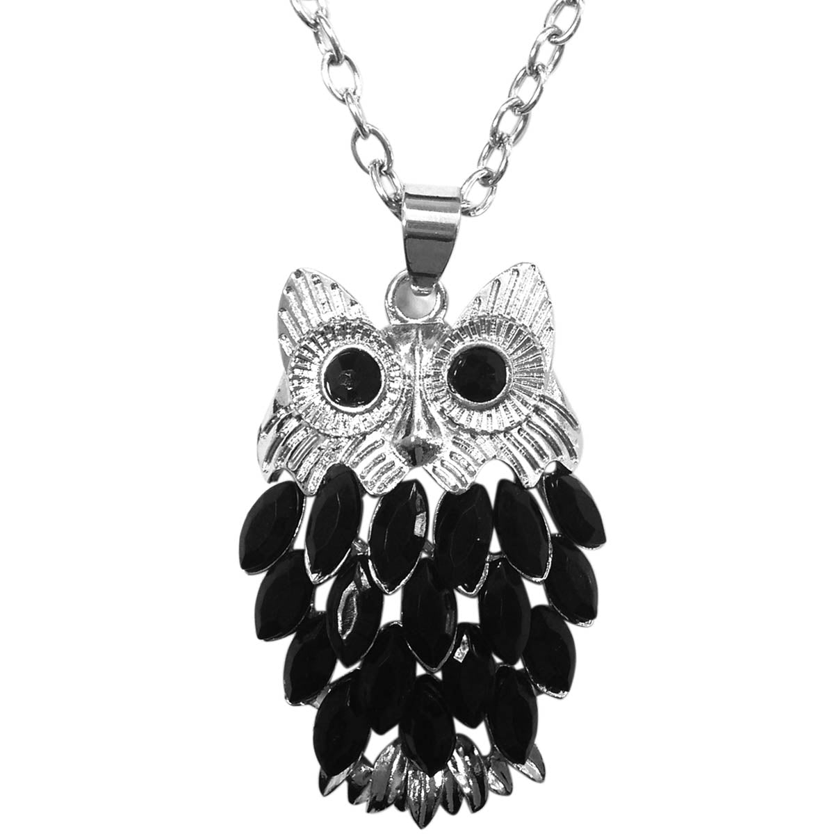 Wrapables Stylish Crystal Feather Owl Pendant Necklace