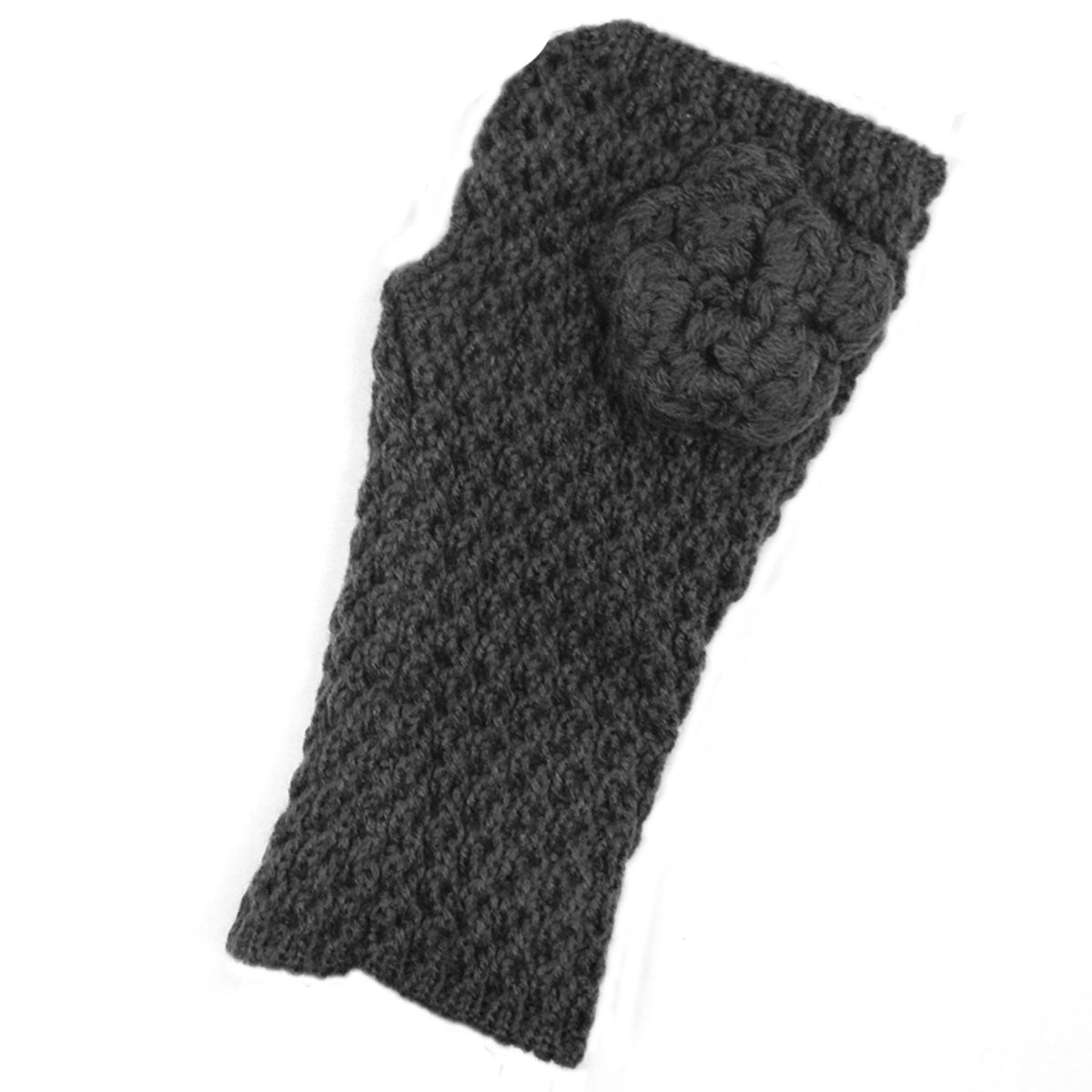 Wrapables Soft Knit Fingerless Gloves with Flower