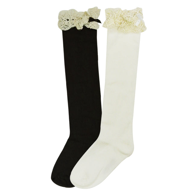 Wrapables Lace Ruffles and Bow Knee High Girl Socks (set of 2)