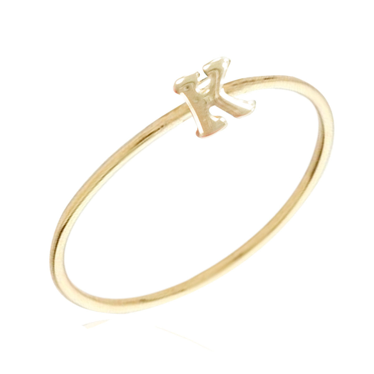 Gold Plated Stackable Initial Letter Ring Size 6