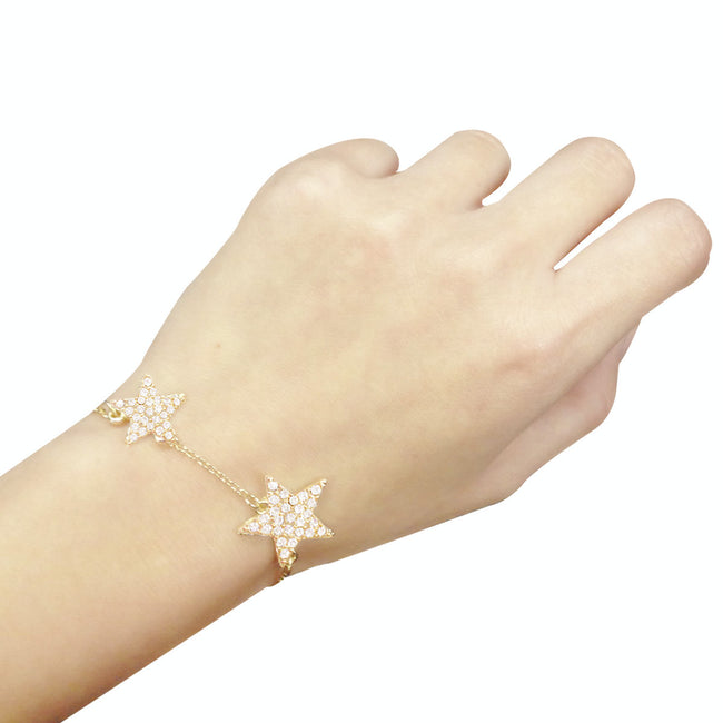 Wrapables Gold Plated Petite Double Crystal Star Bracelet