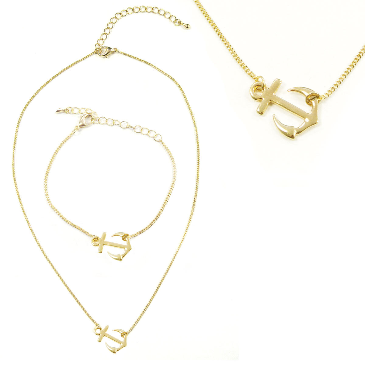 Wrapables Sideways Anchor Pendant Necklace and Bracelet Jeweley Set