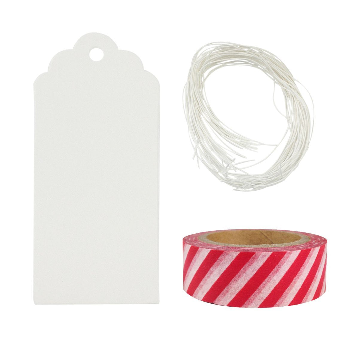 Wrapables 50 White Scallop Gift Tags with Free Cut String & 1 Washi Roll