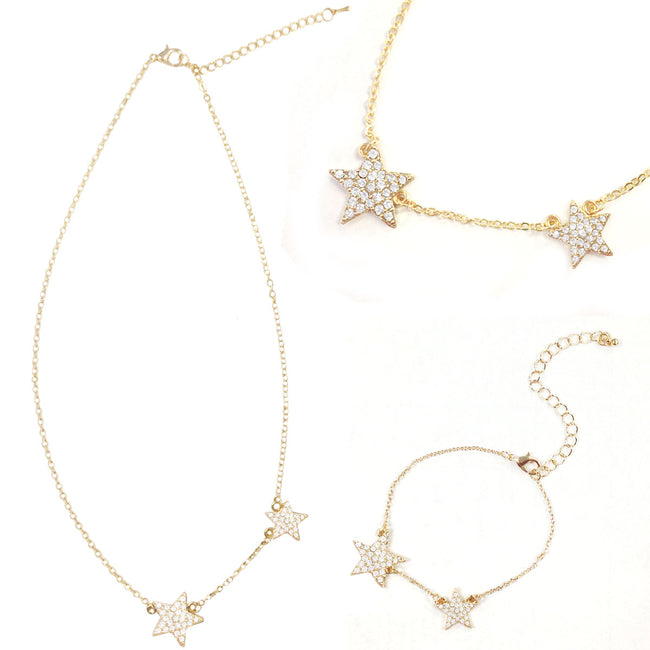 Wrapables Gold Plated Petite Double Crystal Star Pendant Necklace and Bracelet Jeweley Set
