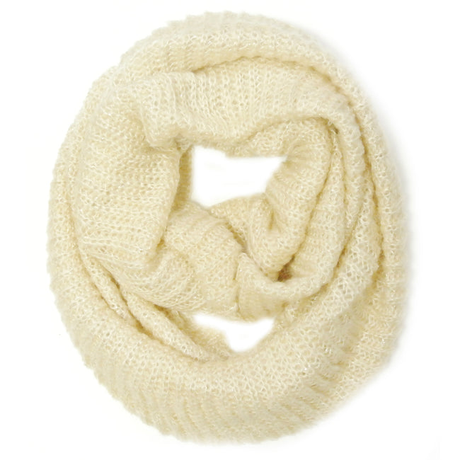 Wrapables Premium Winter Knit Infinity Scarf with Metallic Gold Threading