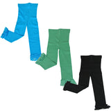 Wrapables Toddler Stretch Leggings with Lace Trim, Set of 3 (Blue, Green, Black)