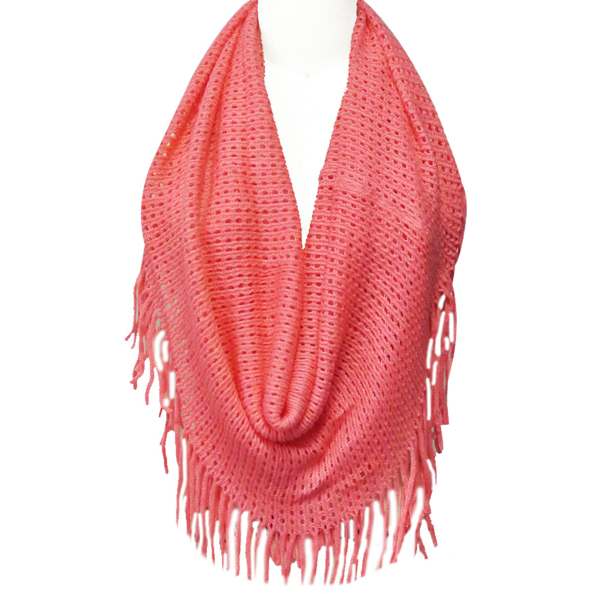 Wrapables Soft Crochet Infinity Scarf with Tassel Trim