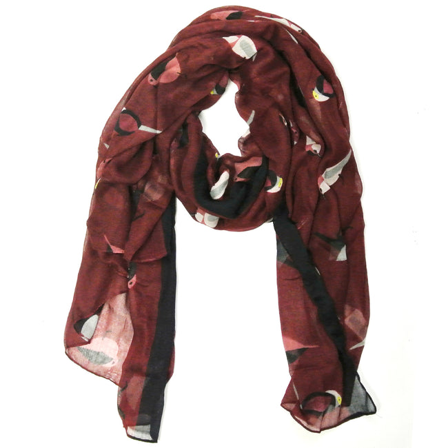Soft Viscose Bird Print Multi-Style Scarf Wrap Shawl Sarong