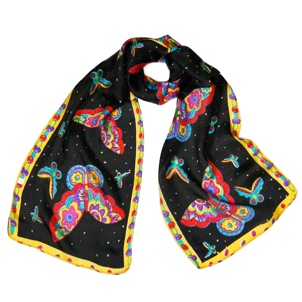 "Vibrant 100% Silk Long Scarf 51"" x 10.5"""