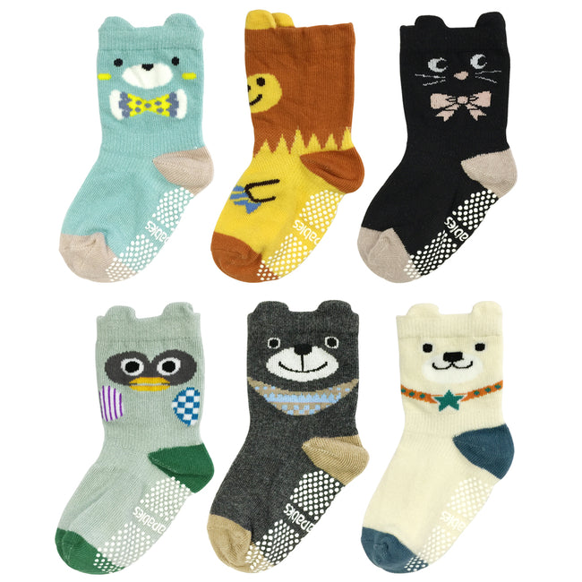 Wrapables Peek A Boo Animal Non-Skid Toddler Socks (Set of 6), Bears and Buddies (Small)