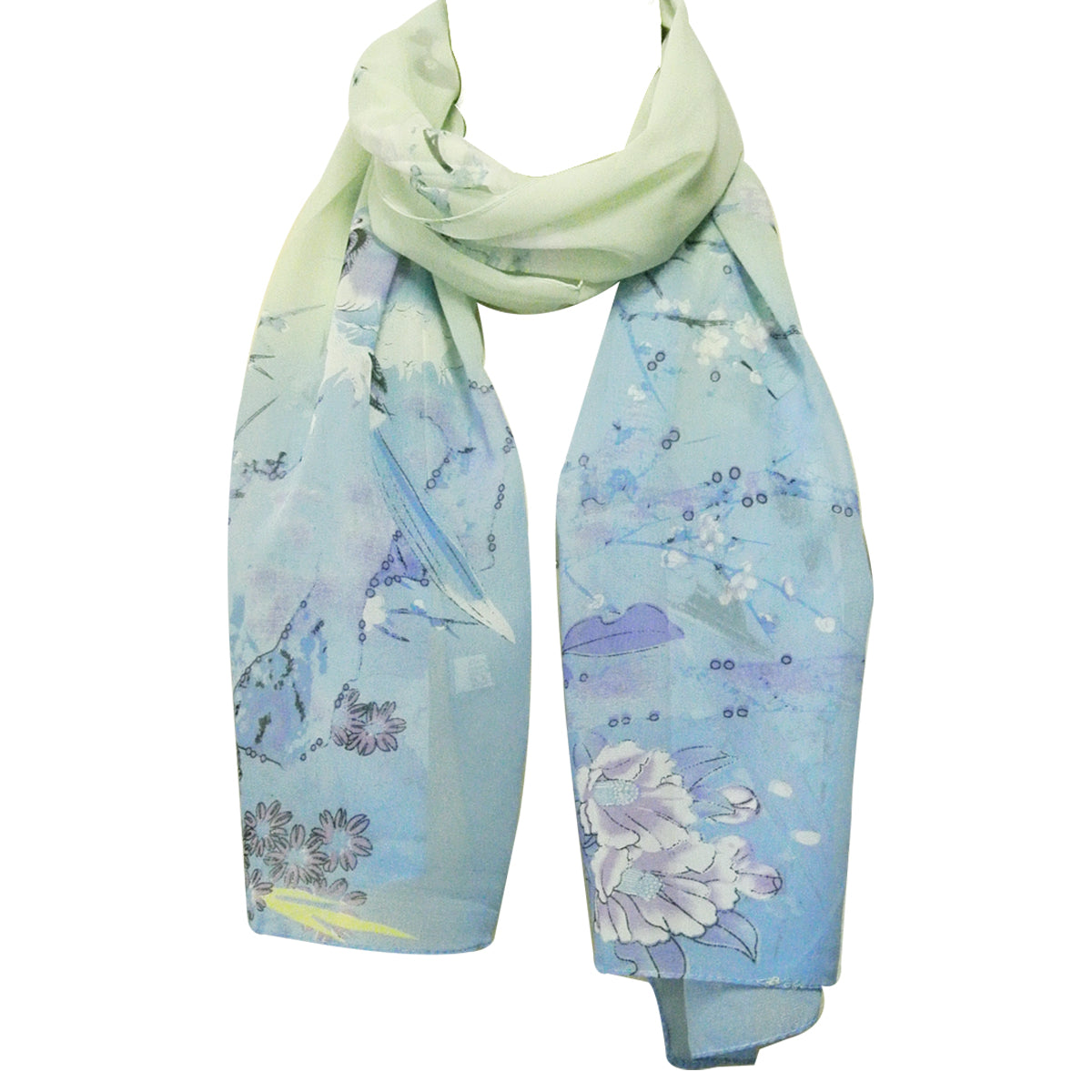 Floral Bird Print Polyester and Silk Oblong Scarf