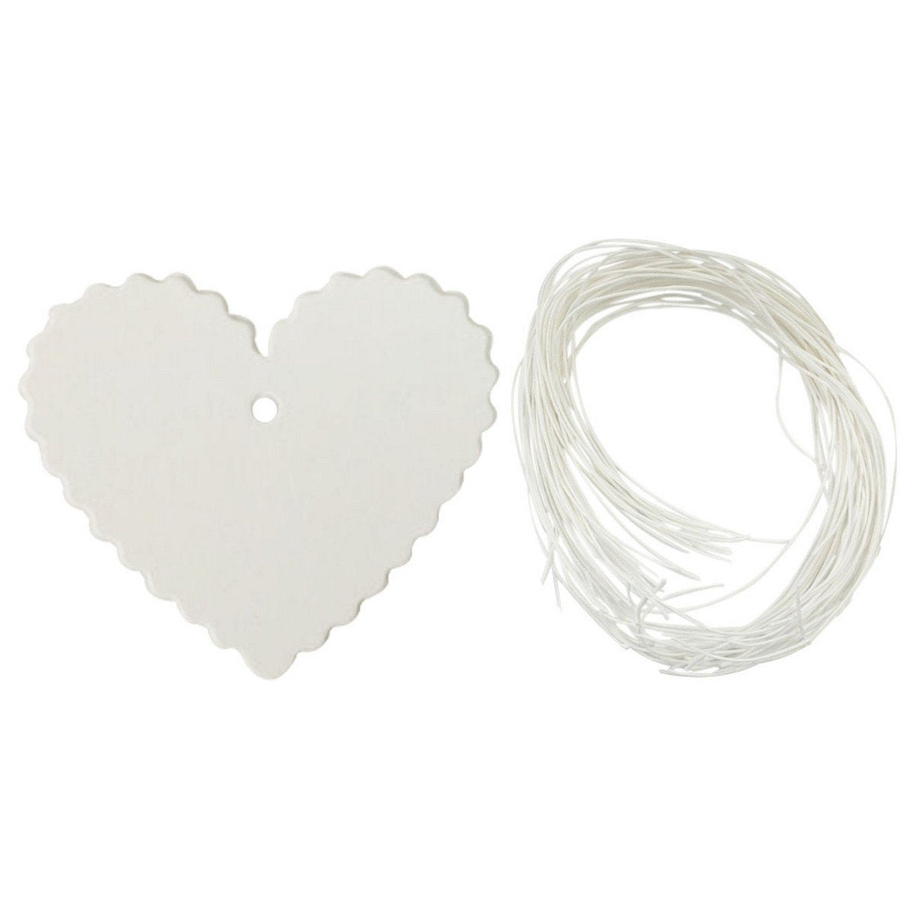 Wrapables 50 Gift Tags with Free Cut Strings - White Heart