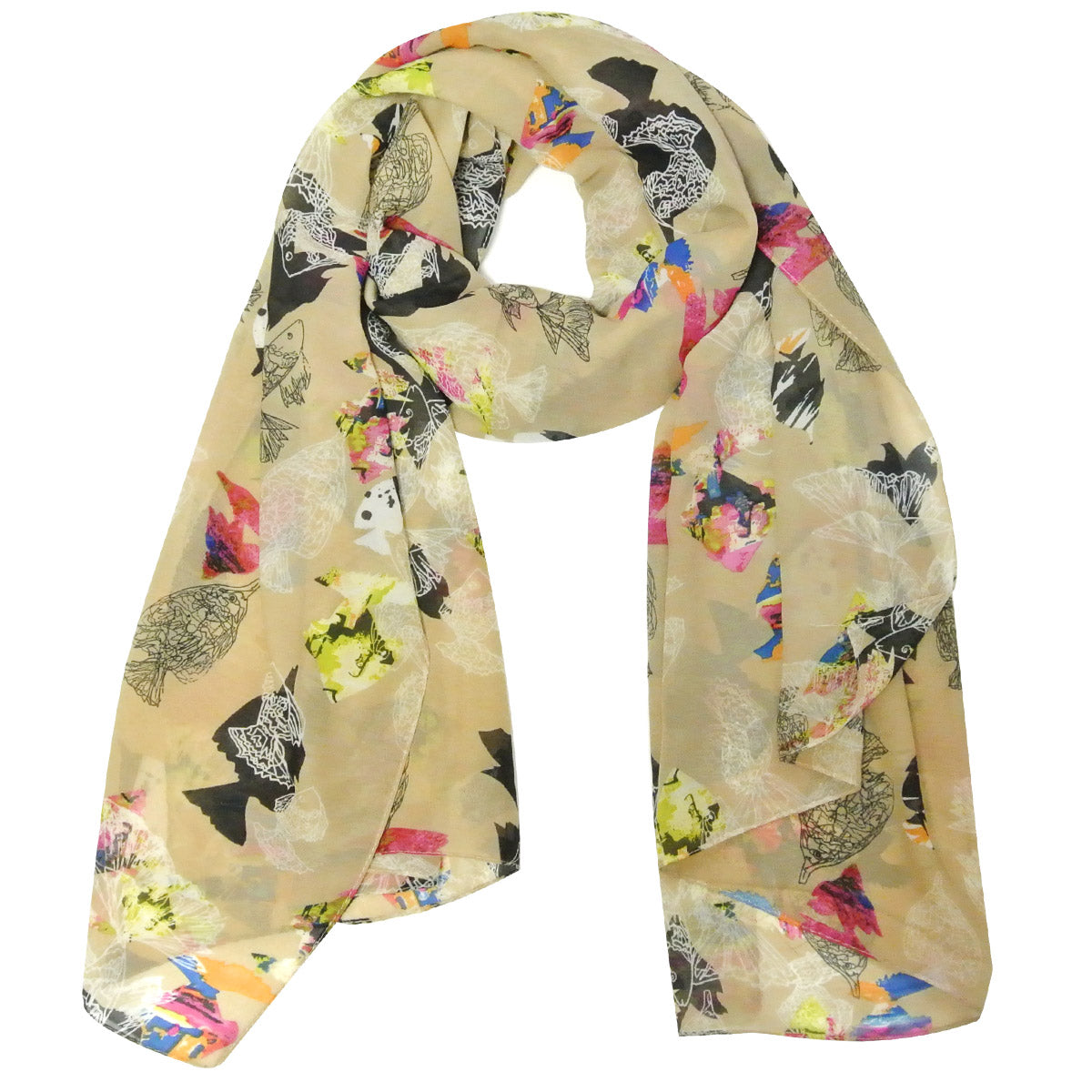 Wrapables Chiffon Under the Sea Fish Pattern Long Scarf