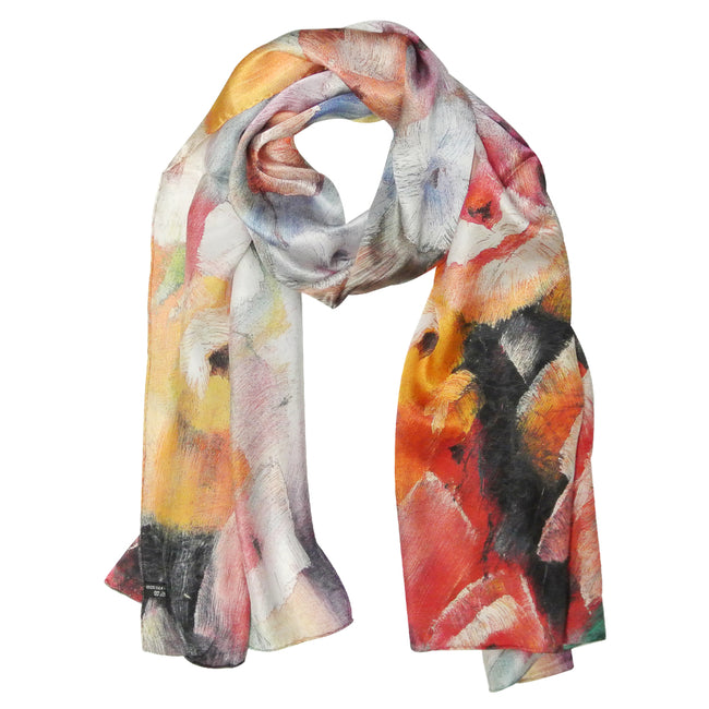 Wrapables Luxurious 100% Charmeuse Silk Floral Painting Long Scarf with Hand Rolled Edges
