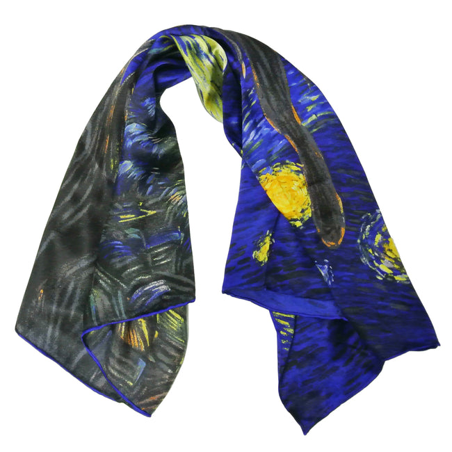 Wrapables Luxurious 100% Charmeuse Silk Square Scarf with Hand Rolled Edges, Van Gogh's Starry Night