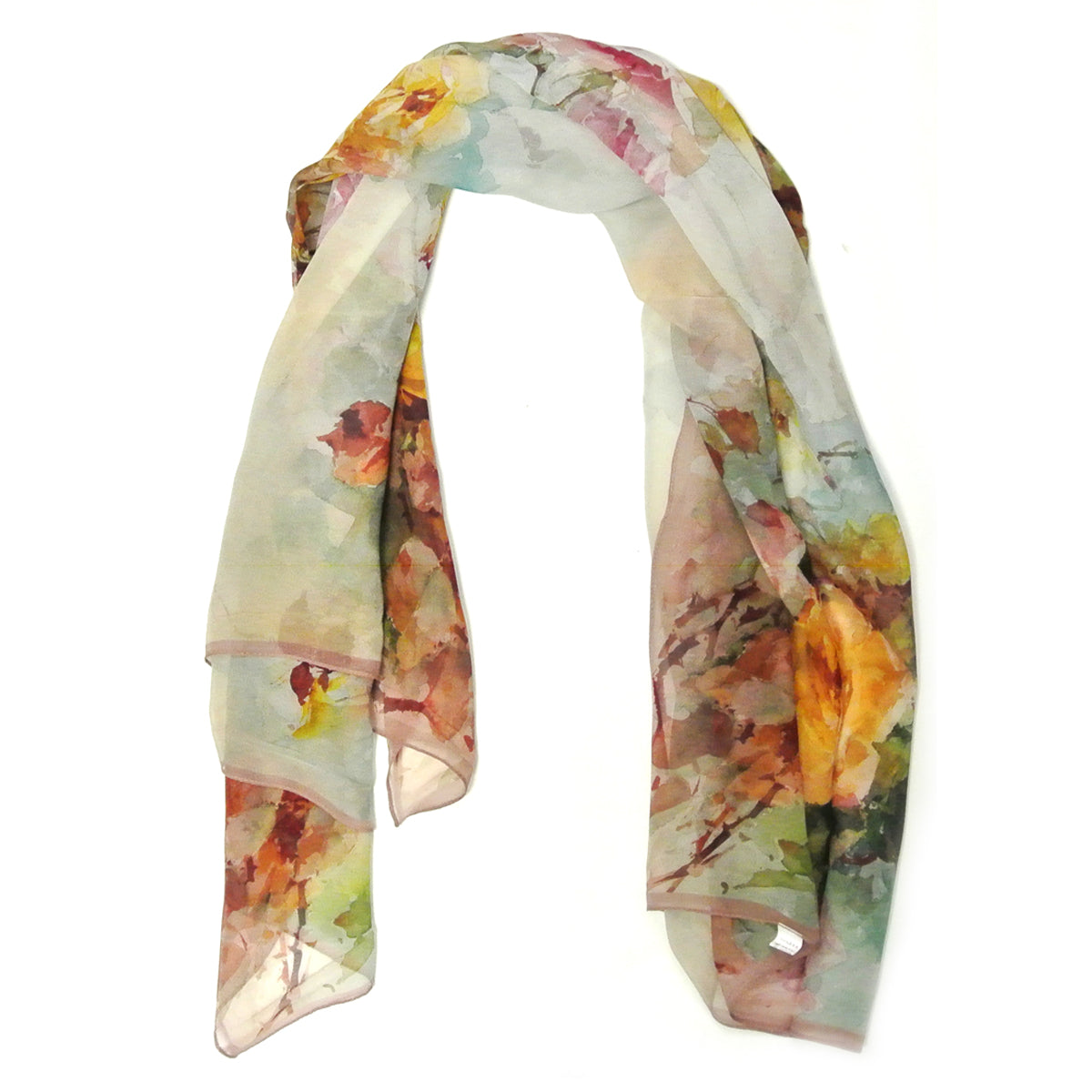 Wrapables 100% Mulberry Silk Floral Painting Square Scarf