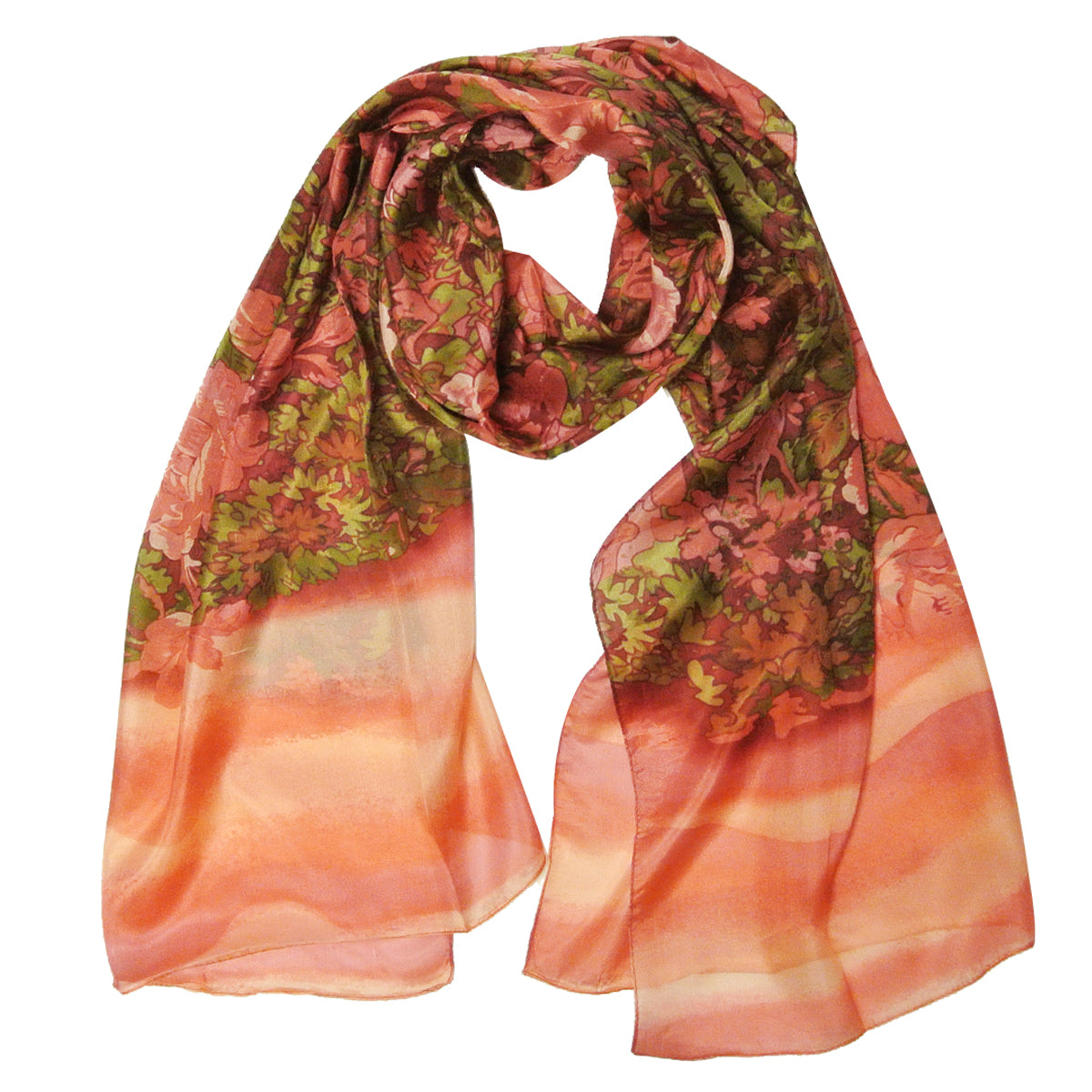 Wrapables Luxurious 100% Charmeuse Silk Long Scarf