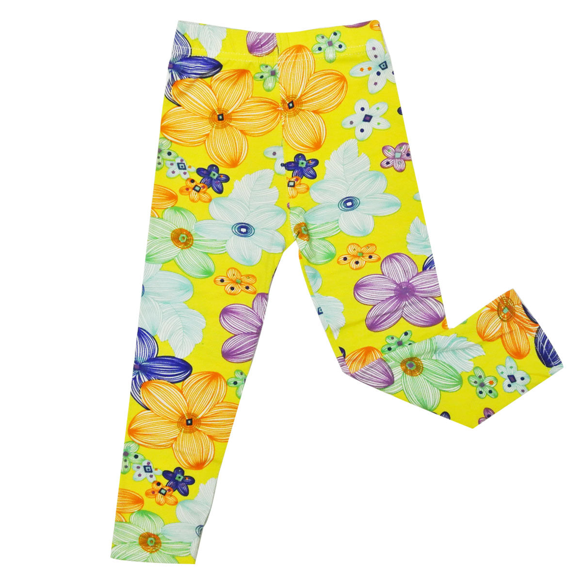 Wrapables Yellow Flower Colorful Doodle Leggings