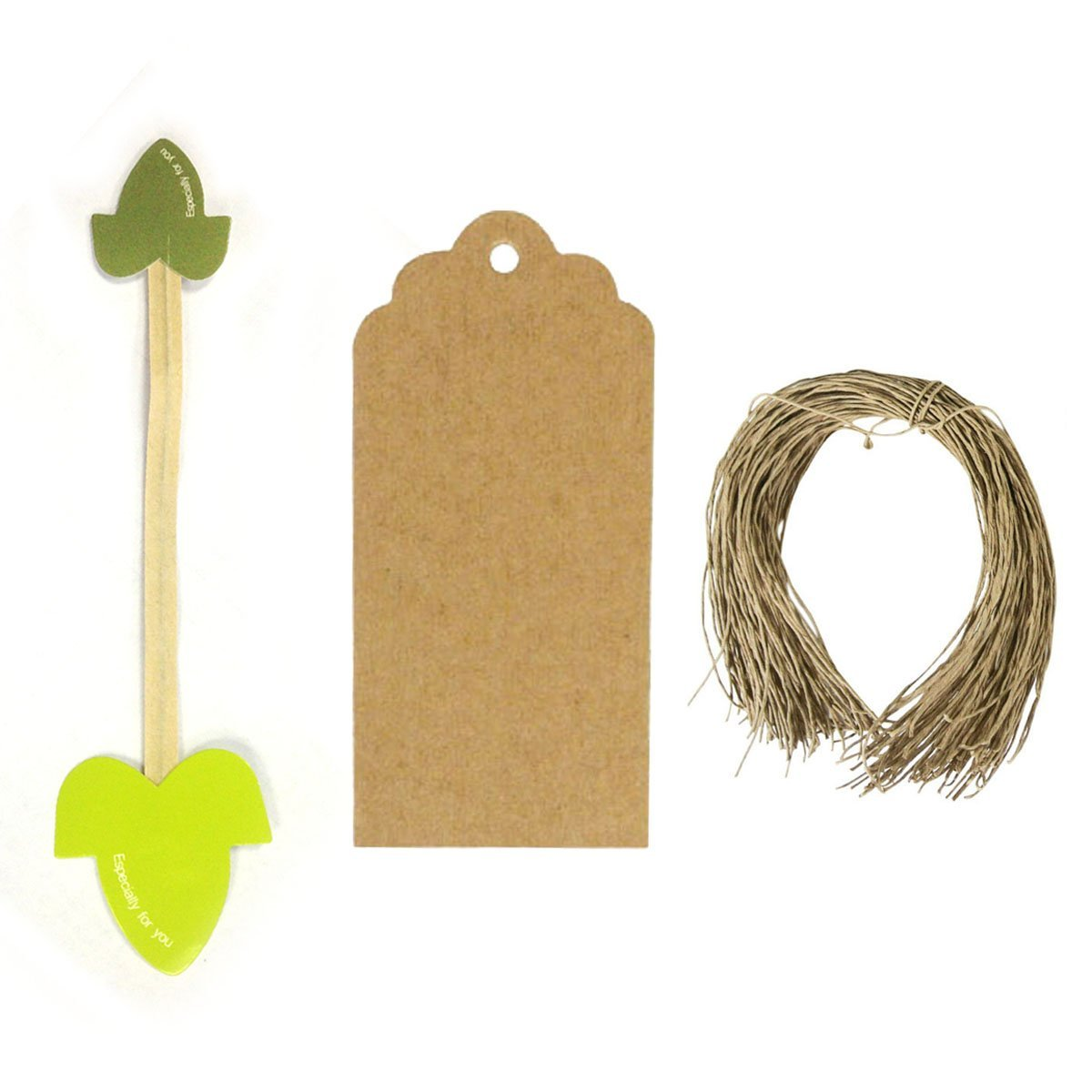 Set of 50 Leaf Twist Ties with 20 Scalloped Gift Tags