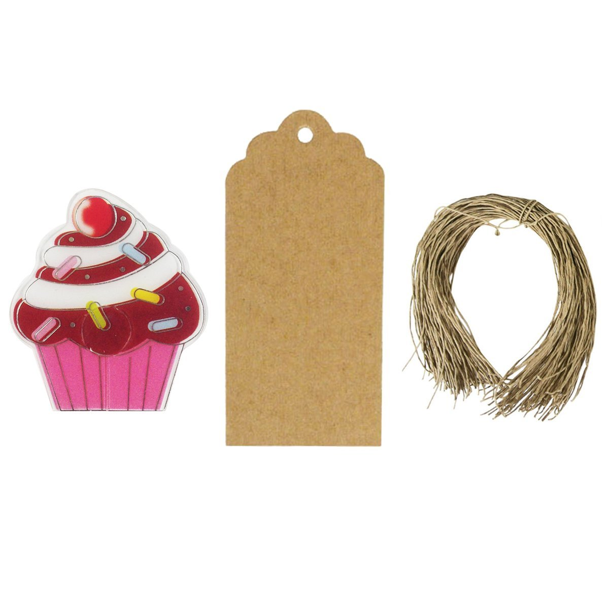 Wrapables Set of 50 Cupcake Bag Clips with 20 Scalloped Gift Tags