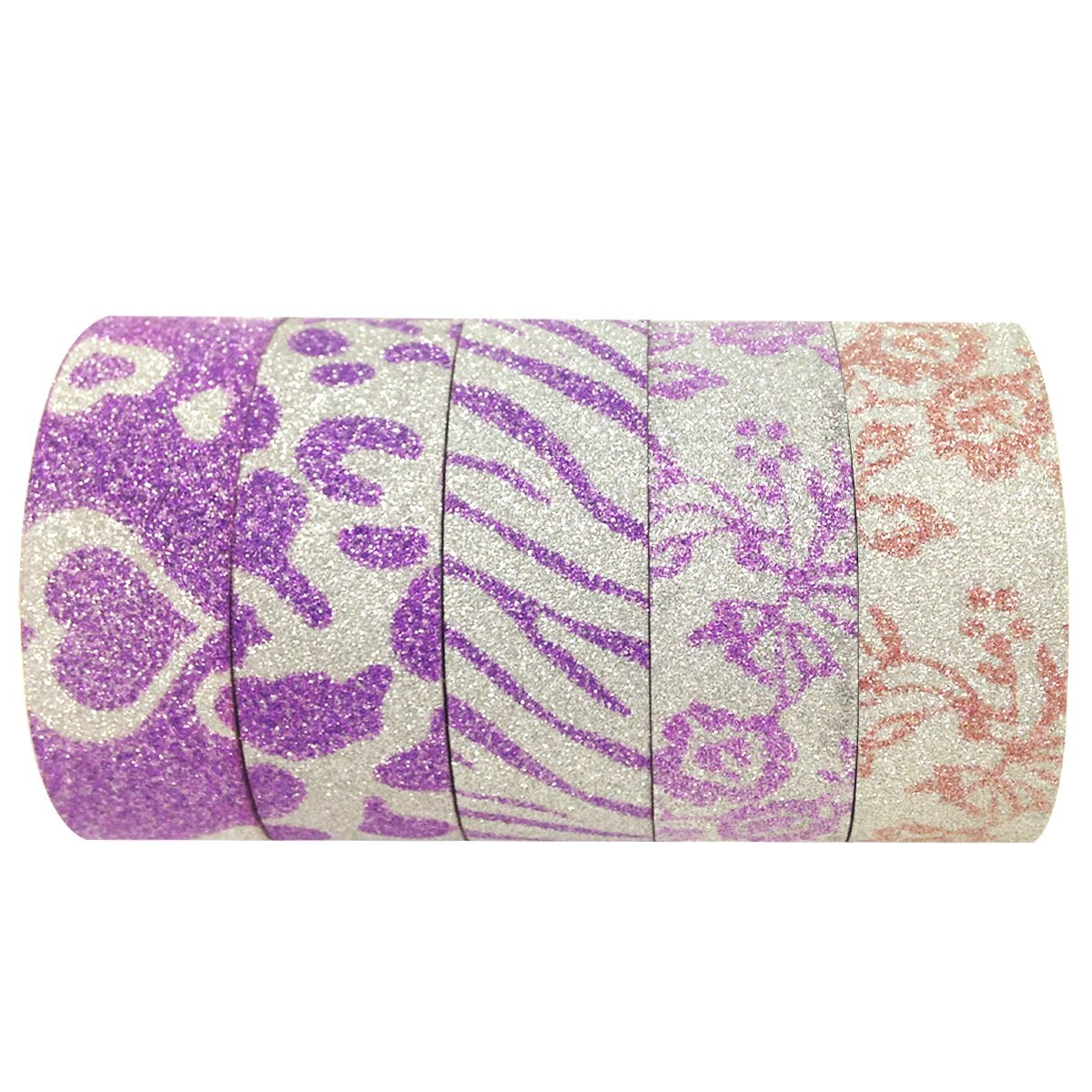 Wrapables Japanese Washi Masking Tape, Glitter Collection (Set of 6)