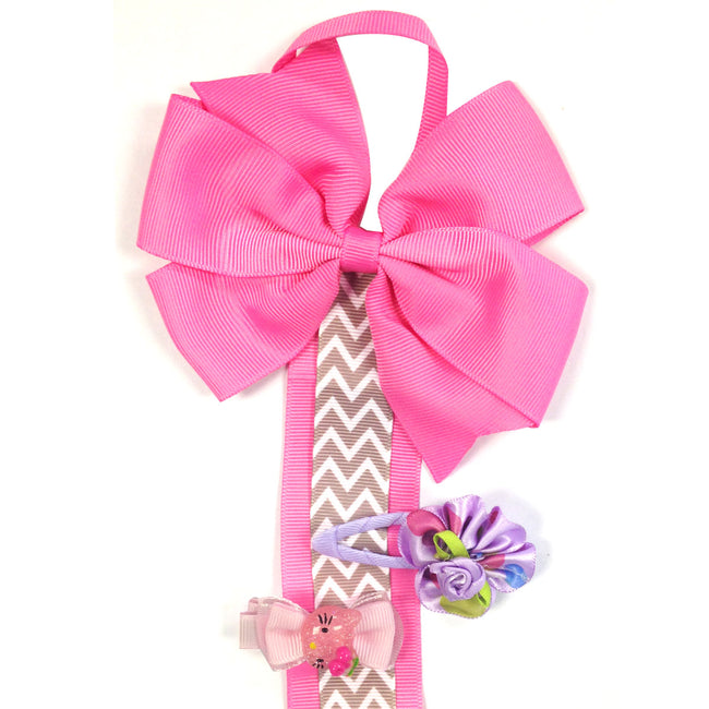 Hair Clip and Hair Bow Holder, Hot Pink Chevron