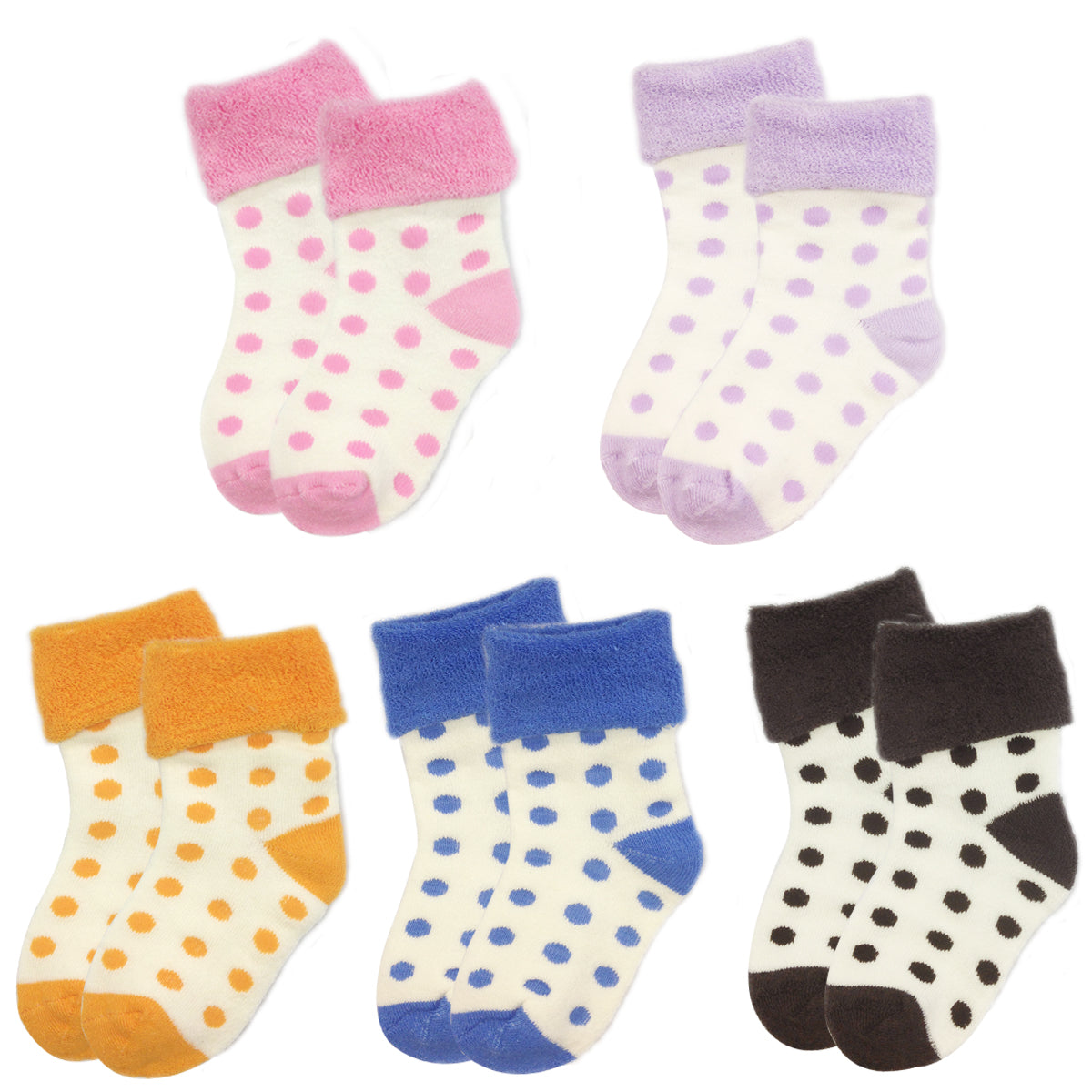 Wrapables Polka Dot Baby Socks, Set of 5 [ A63737, A63738, A63740, A63741, A63742]
