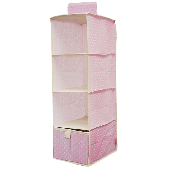 Wrapables 3 Shelf With 1 Drawer Hanging Nursery Closet Organizer, Pink