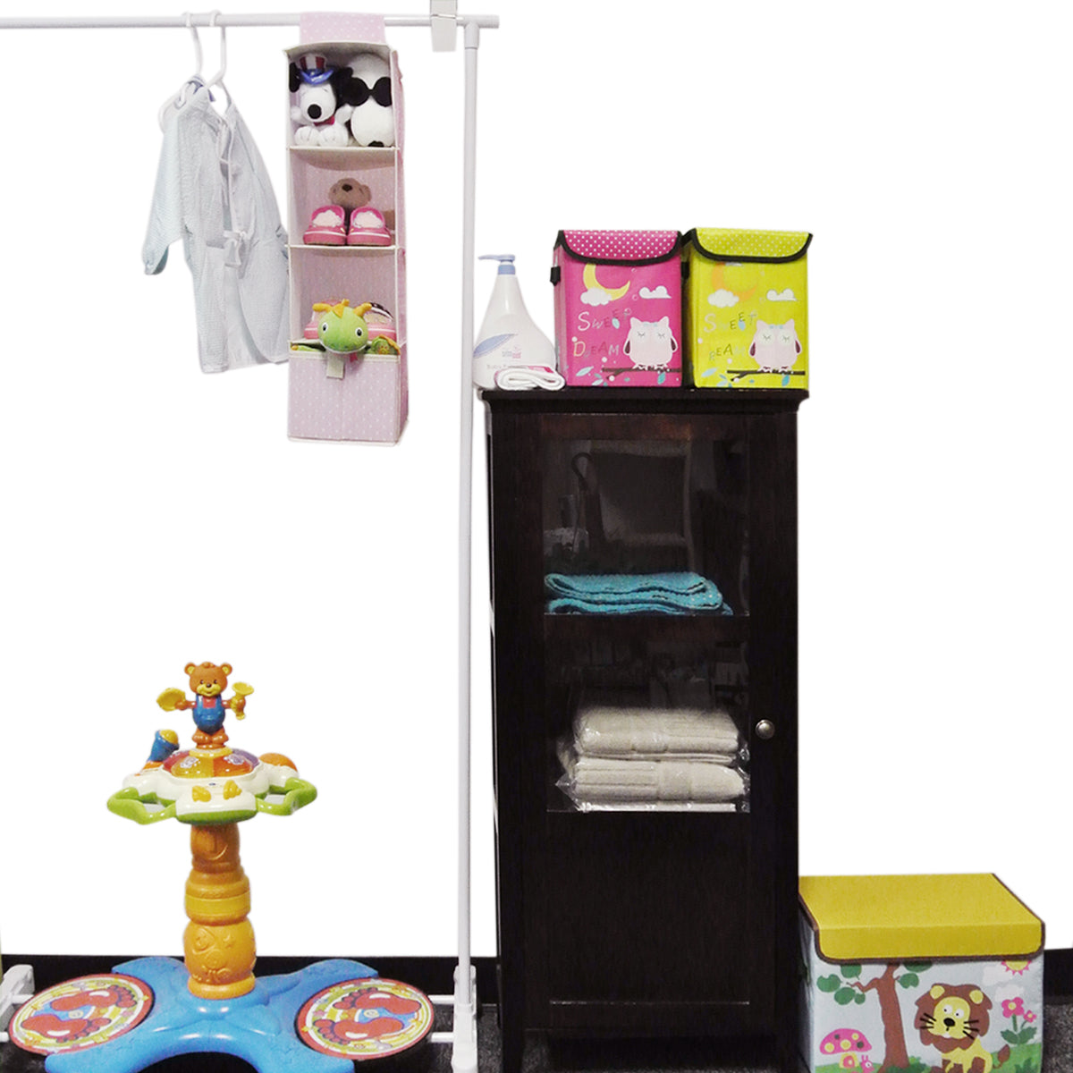 Wrapables 4 Shelf With 1 Drawer Hanging Nursery Closet Organizer, Pink