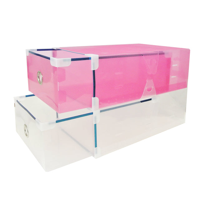 Set of 10 Clear Drawer Style Shoe Box for Closet Organization (Medium), Pink and Clear