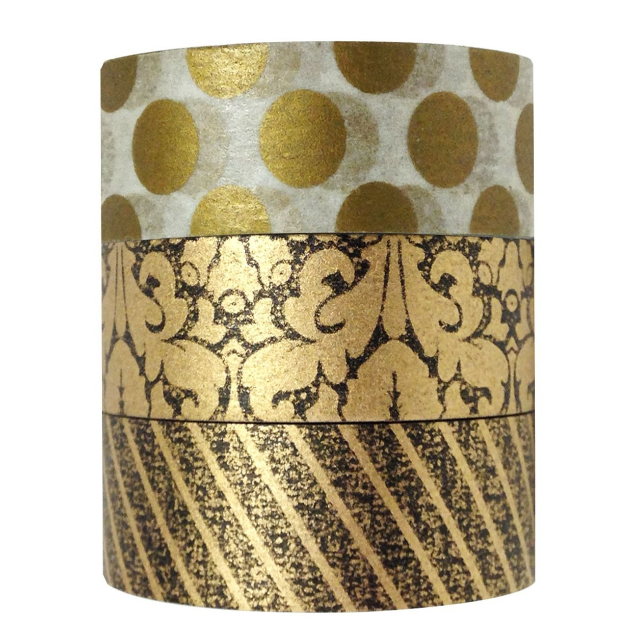 Wrapables Midas Touch Japanese Washi Masking Tape (set of 3)