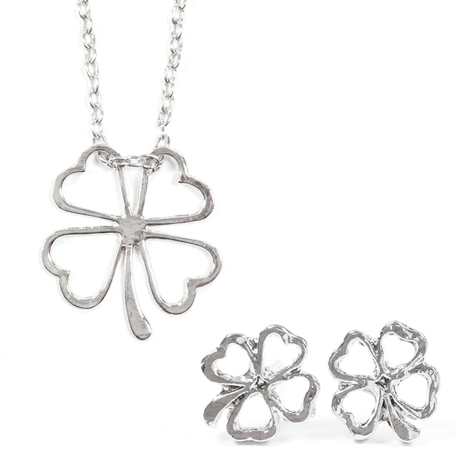 Wrapables Four Leaf Clover Flower Necklace and Earrings Set