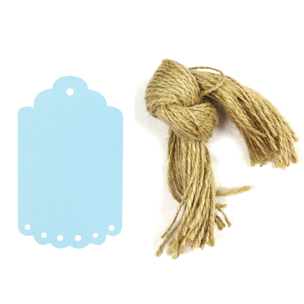Wrapables 50 Gift Tags/Kraft Hang Tags with Free Cut Strings for Gifts, Crafts & Price Tags, Small Scalloped Edge