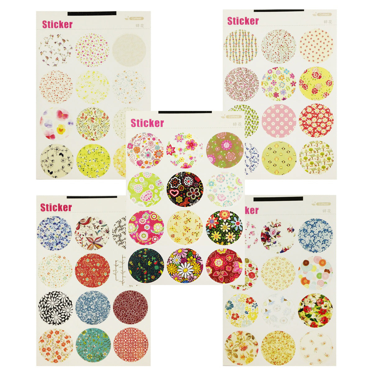 Wrapables Decorative Floral Pattern Sticker Set