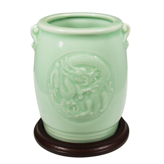 Wrapables Gifts & Decor 4.5 Inch Chinese Dragon & Phoenix Celadon Ceramic Vase