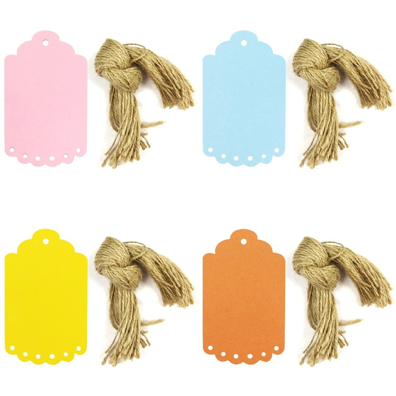 Wrapables 40 Gift Tags/Kraft Hang Tags with Free Cut Strings, Large Scalloped Edge (Set of 4)
