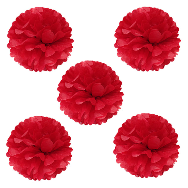 "8"" Set of 5 Tissue Pom Poms Party Decorations"