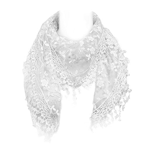 Embroidered Floral Lace Triangle Scarf Shawl