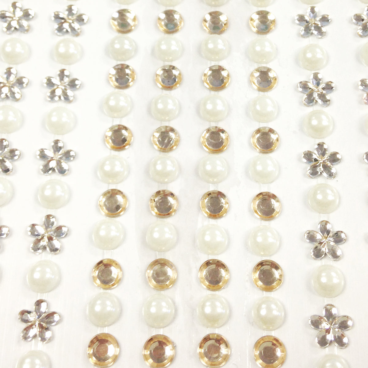 Wrapables 164 pieces Crystal Flower and Pearl Stickers Adhesive Rhinestones