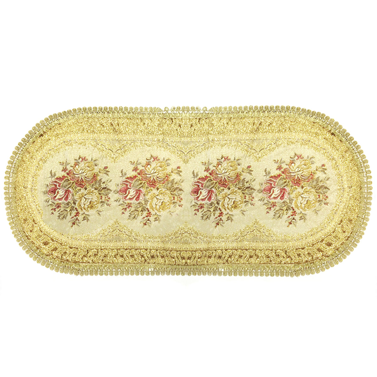 Wrapables 28.5 x 13 Inch Vintage Floral Table Runner with Gold Embroidery, Imperial Gold