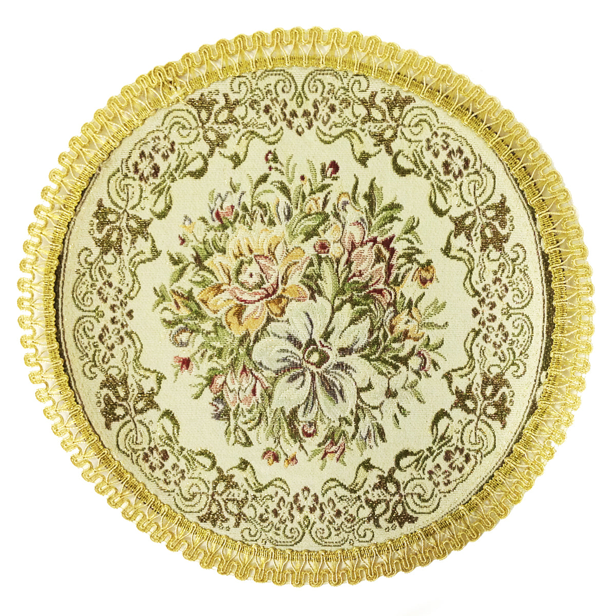 Wrapables? Round Vintage Floral Placemat with Gold Embroidery (Set of 2)
