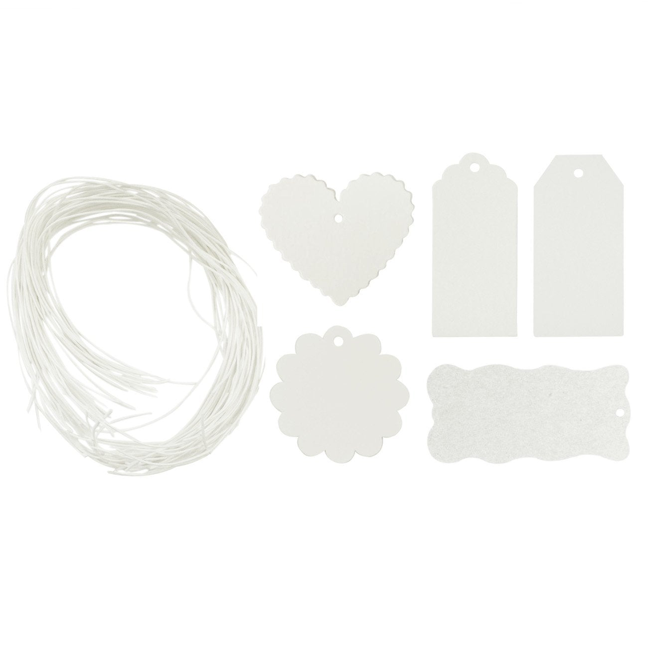 Wrapables 100 Gift Tags/Kraft Hang Tags with Free Cut String, White