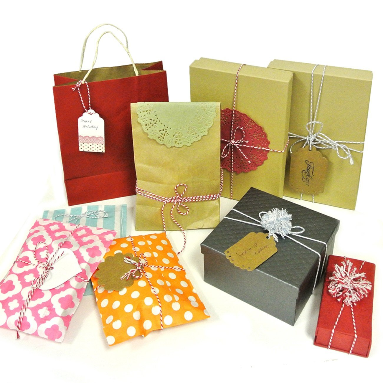 Wrapables 50 Gift Tags with Free Cut Strings  + Cotton Baker's Twine 4ply 110 Yard