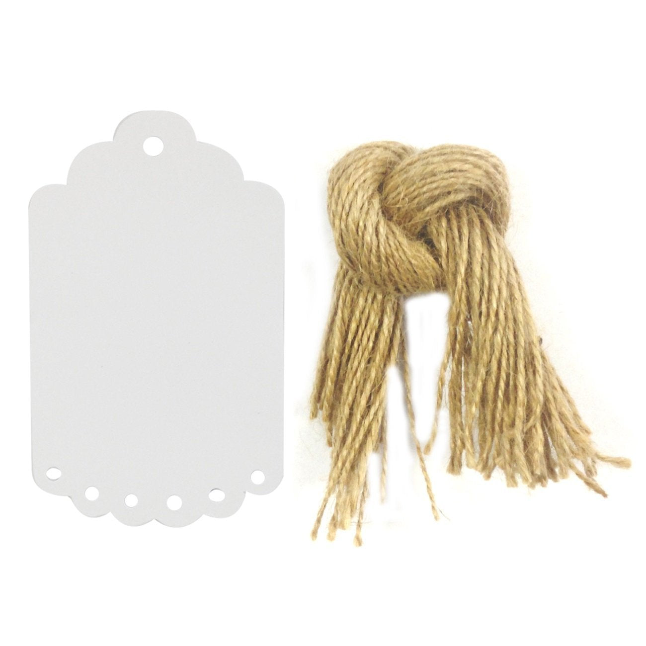 Wrapables 50 Gift Tags with Free Cut Strings + Cotton Baker's Twine 12ply 110 Yard