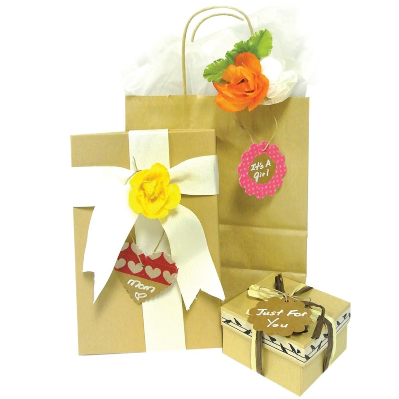 Wrapables 40 Gift Tags with Free Cut Strings, Large Scalloped Edge (Set of 4) + Cotton Baker's Twine