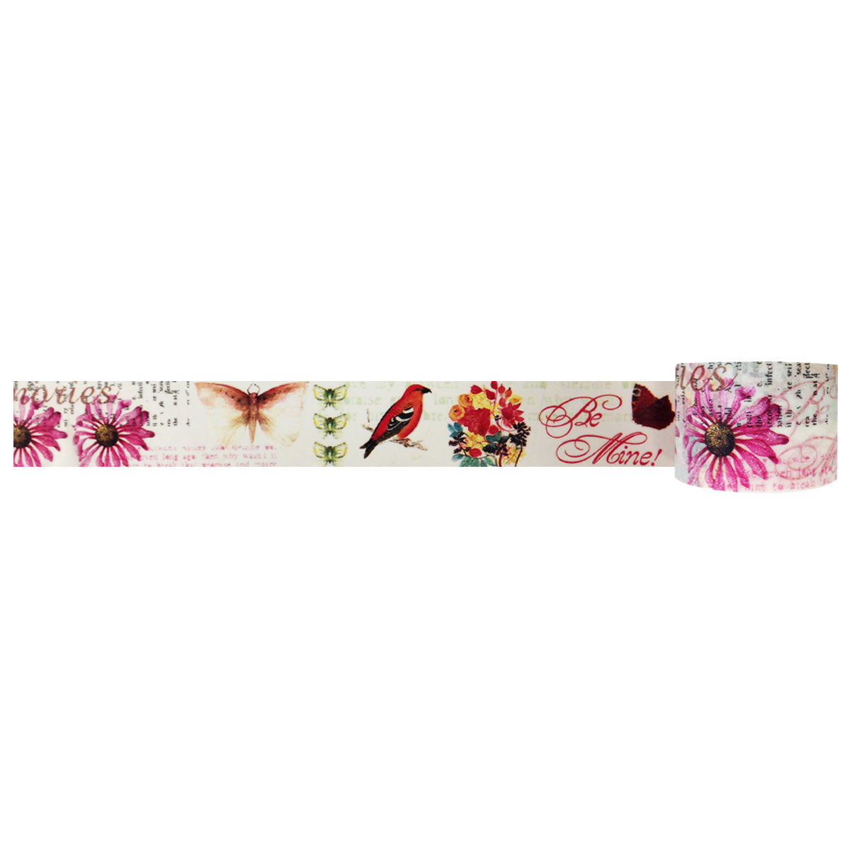 Wrapables Floral & Nature Washi Masking Tape, Be Mine